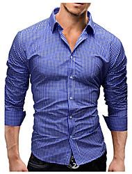 Для мужчин Повседневные Весна Осень Рубашка Рубашечный воротник,Простое Сетка / плед узоры Длинный рукав,Комбинирование ткани