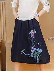 Femme Décontracté / Quotidien Midi Jupes,Crochet Fleur Eté