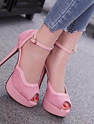 Damen High Heels Komfort Pumps PU Frühling Sommer Normal Komfort Pumps Schwarz Purpur Rosa 12 cm & mehr