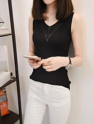 Damen Solide Einfach Normal Tank Tops,V-Ausschnitt Ärmellos 100% Baumwolle