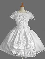 Uma-Peça/Vestidos Doce Lolita Cosplay Vestidos Lolita Preto Branco Vintage Concha Manga Curta Short / Mini Vestido Para