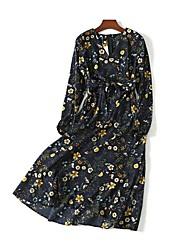 Trapèze Ample Courte Robe Femme simple Chic de Rue,Fleur Col Arrondi Maxi Manches Longues Soie Coton Eté Automne Taille Normale