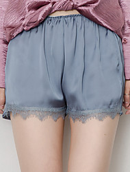 Women's Mid Rise Micro-elastic Loose Shorts Pants,Simple Loose Lace Solid