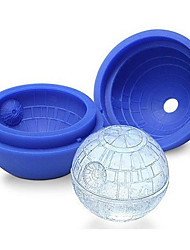 Random Color Hot Creative Silicone Blue Wars Death Star Round Ball Ice Cube Mold Tray Desert Sphere Mould DIY Cocktail Forma De Gelo