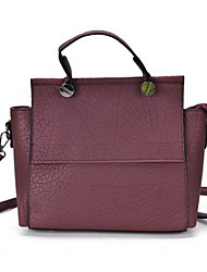 Women School Bag PU All Seasons Baguette Zipper Black Ruby