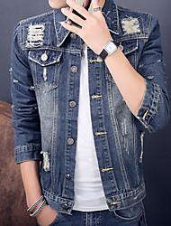 Men's Casual/Daily Simple Spring Fall Denim Jacket,Solid Shirt Collar Long Sleeve Regular Linen