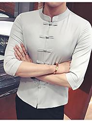 Для мужчин Все сезоны Рубашка Воротник-стойка,Простое Однотонный Рукав ¾,Полиэстер,Средняя