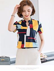 Damen Plaid/Karomuster Einfach Normal T-shirt,Ständer Kurzarm Polyester