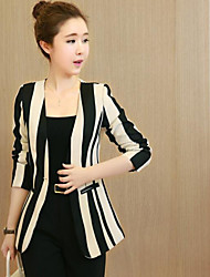 Women's Casual/Daily Simple Summer Fall Jacket,Striped V Neck Long Sleeve Regular