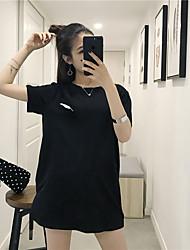Damen Stickerei Einfach T-shirt,Rundhalsausschnitt Sommer Kurzarm Baumwolle