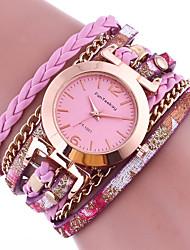 Жен. Часы-браслет Кварцевый Цветной Кожа Группа С подвесками Черный Белый Синий Красный Коричневый Зеленый Золотистый Розовый