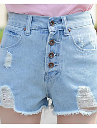 Sign spring and summer new Korean breasted waist edges frayed jeans shorts female wide leg was thin