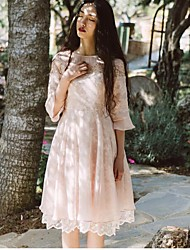 Feminino Túnicas Vestido,Casual Sólido Decote Redondo Longo Manga ¾ Algodão Verão Cintura Média Micro-Elástica Média