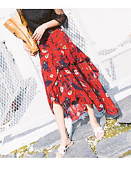Feminino Casual Midi Saias,Balanço Estampado Verão