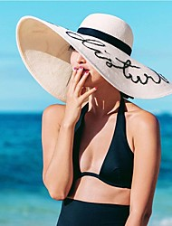 Mujer Primavera Verano Casual Poliéster Paja Sombrero de Paja,Sólido Color puro