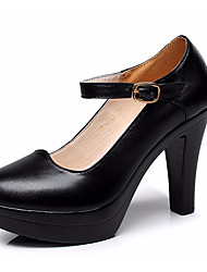 Damen High Heels Pumps Leder Sommer Normal Pumps Blockabsatz Weiß Schwarz 7,5 - 9,5 cm
