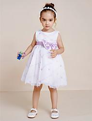 Robe de princesse princesse genouillère - collier en polyester sans manche avec ruban