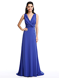TS Couture Prom Formal Evening Dress - Open Back A-line V-neck Sweep / Brush Train Chiffon with Beading Criss Cross