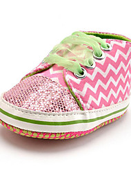 Baby Kids' Loafers & Slip-Ons First Walkers Fabric Fall Winter Party & Evening Dress Casual Animal Print Lace-up Flat Heel Blushing Pink Flat