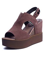 Damen Sandalen PU Sommer Keilabsatz Schwarz Khaki 12 cm & mehr