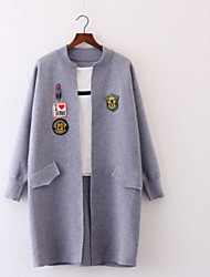Women's Casual Long Cardigan,Others Round Neck 3/4-Length Sleeve Cotton Winter Medium Micro-elastic