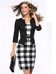 Mujer Línea A Corte Bodycon Vestido Oficina/Carrera Ropa Corporativa Simple Sofisticado,Retazos Enrejado Escote Chino Hasta la Rodilla