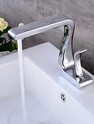 Torneira de lavatório de lavatório de lavatório único, torneira de misturador de lavatório de latão sólido