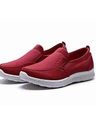 Для женщин Мокасины и Свитер Удобная обувь Ткань Весна/осень Повседневные Для прогулок Удобная обувь На платформе Черный Темно-красный2,5