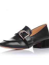 Women's Heels Comfort PU Fall Winter Casual Chunky Heel Black 1in-1 3/4in