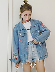 Women's Casual/Daily Simple Fall Denim Jacket,Floral Solid Notch Lapel Long Sleeve Regular Others