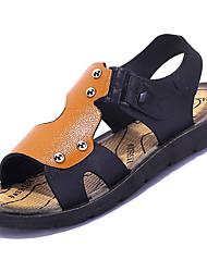 Boys' Sandals Comfort PU Summer Outdoor Walking Flat Heel Blue Yellow Under 1in