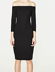 Women's Going out Sexy Bodycon Dress,Solid Strapless Above Knee Long Sleeve Rayon Summer High Rise Micro-elastic Medium