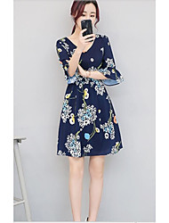 Women's Other Casual Simple Chiffon Dress,Floral Flower/Floral V Neck Above Knee Half Sleeve Satin Chiffon Spring Summer Mid Rise