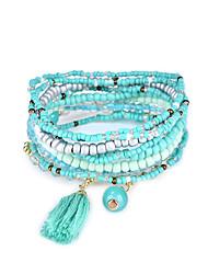 Lureme Bohemian Beads Tassel Multi Strand Textured Stackable Bangle Bracelet Set