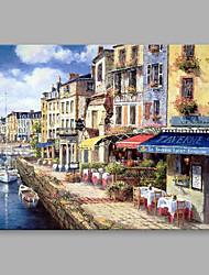 Pintados à mão Paisagens Abstratas Horizontal,Contemprâneo Abstracto 1 Painel Tela Pintura a Óleo For Decoração para casa