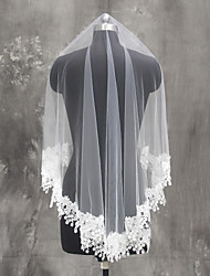 Bride Bridesmaids White / Ivory Wedding Veil One-tier Fingertip Veils Tulle Netting