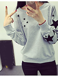 Damen Galaxis Einfach T-shirt,Rundhalsausschnitt Langarm Baumwolle