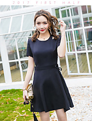 Women's Casual/Daily A Line Dress,Solid Round Neck Knee-length Short Sleeve Cotton Summer Low Rise Micro-elastic Medium