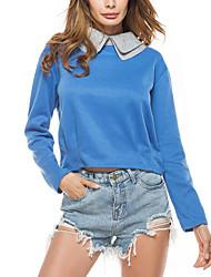 Women's Casual/Daily Street chic Spring Fall T-shirt,Solid Peaked Lapel Long Sleeve Roman Knit Medium