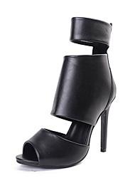Damen Sandalen PU Sommer Reißverschluss Stöckelabsatz Schwarz 10 - 12 cm