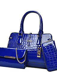 Women Bag Sets Patent Leather All Seasons Formal Casual Shell Zipper Fuchsia Red Black White Blue