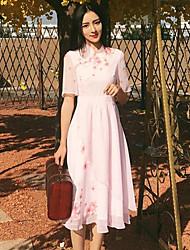 Trapèze Robe Femme Décontracté / Quotidien Chinoiserie,Fleur Mao Mi-long ½ Manches Autres Eté Taille Normale Non Elastique Fin