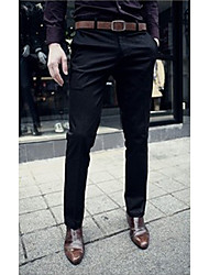 Men's Mid Rise Micro-elastic Suit Business Pants,Active Slim Pure Color Solid