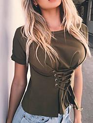 Damen Solide Sexy Einfach Street Schick Ausgehen Lässig/Alltäglich Klub T-shirt,Rundhalsausschnitt Frühling Sommer Kurzarm Polyester