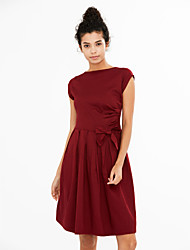 Women's Going out / Casual/Daily Vintage / Cute A Line Dress,Solid Round Neck Knee-length Sleeveless