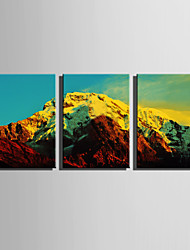 E-HOME Stretched Canvas Art  Colorful Mountains Decoration Painting Set Of 3