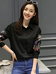 Women's Daily Simple Shirt,Embroidery Shirt Collar Long Sleeve Cotton Blend