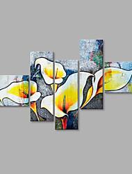 Pintada a mano Floral/Botánico Flor Abstracto Estilo Irregular Cinco Paneles Lienzos Pintura al óleo pintada a colgar For Decoración