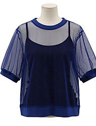 Damen Solide Einfach Lässig/Alltäglich T-shirt,Rundhalsausschnitt Kurzarm Polyester Dünn