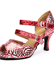 Damen Tanz-Turnschuh Kunstleder Sandalen Sneakers Professionell Verschlussschnalle Blockabsatz Schwarz Rot 5 - 6,8 cm Maßfertigung